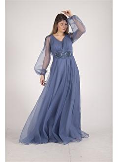 Belamore  İndigo Kolları Tül İşleme Detaylı Kloş Abiye&Mezuniyet Elbisesi 1301542.98